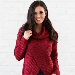 Red Cowl Neck Comfort Sweater, S/M (item #404701)